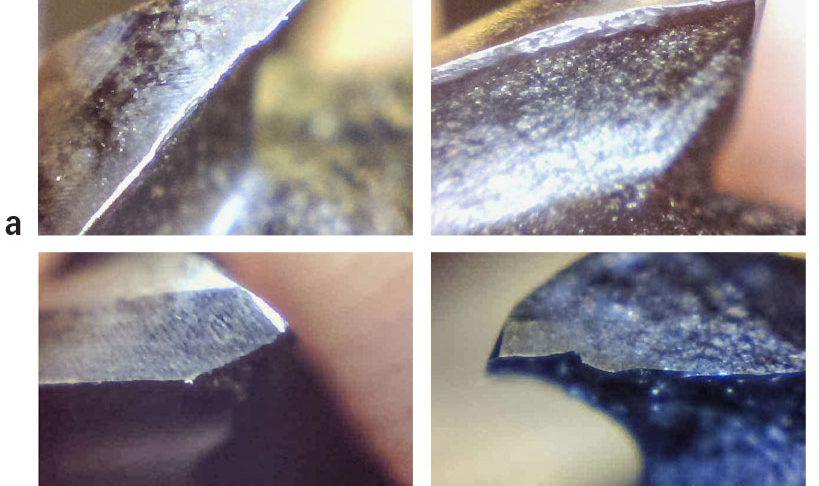 Ráfaga de imágenes de ensayos de mecanizado con MQL externa como método de lubricación