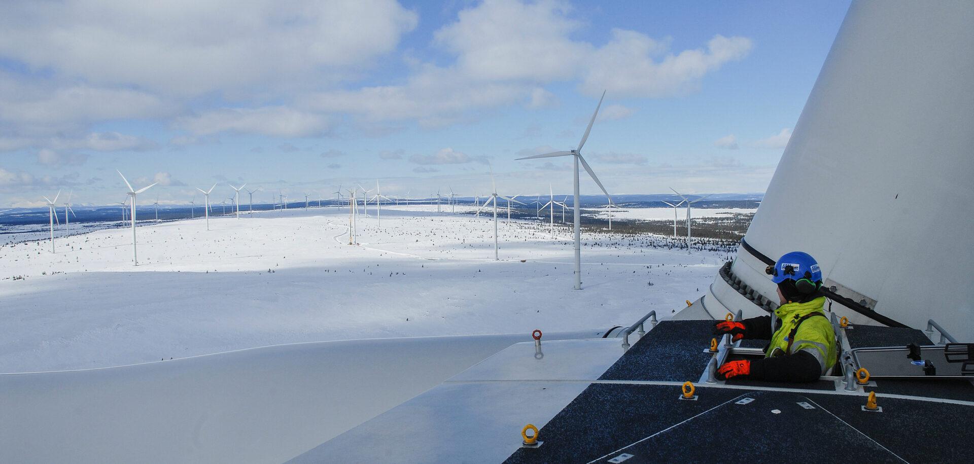 Il parco eolico BlaikenVind si trova nella Svezia settentrionale al 65° parallelo Nord.
