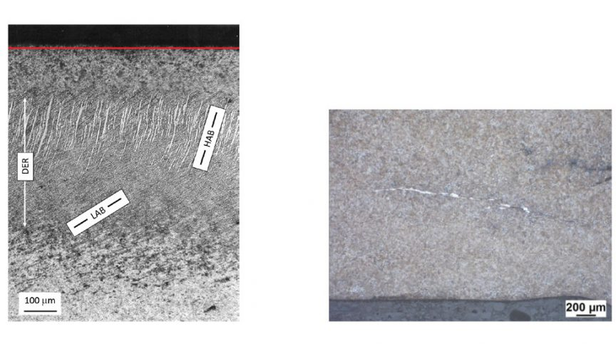 Left: Dark etching regions (DER), low-angle (LAB) and high-angle (HAB) bands in deep groove ball bearings (red line: bearing raceway); right: White etching crack occurrence in a large tapered roller bearing endurance test.