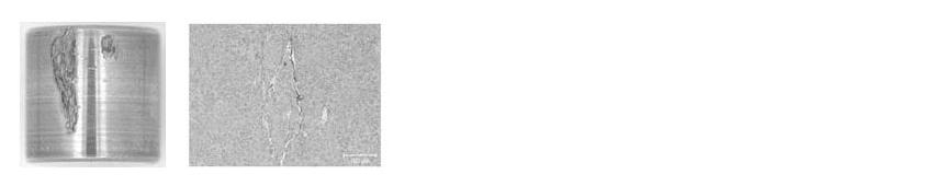 Obr. 11: Typický vzhled valivého tělesa havarovaného ložiska 81212 (vlevo) a vznik WEC (příčný řez 84 µm pod oběžnou dráhou) v ložiskovém kroužku (vpravo).