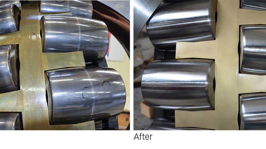 Fig. 3:Large-size spherical roller bearing: before and after remanufacturing.
