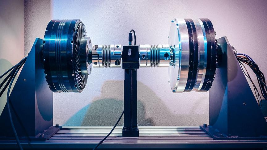 GEM in-wheel electric motor in the test rig.