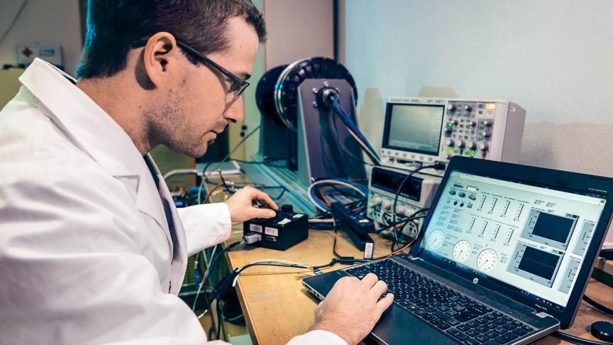 Peter Oblak, development engineer at GEM, testing the in-wheel electric motor.