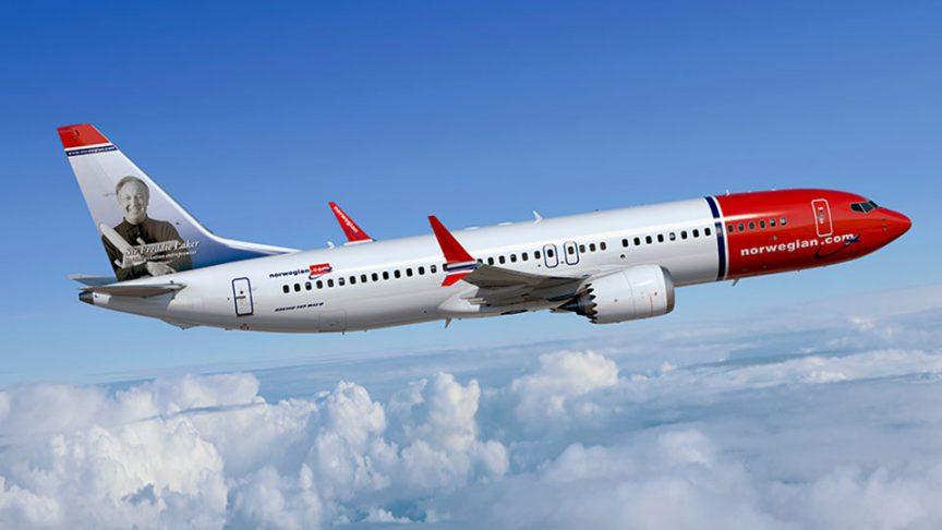 Boeing 737MAX d'une compagnie aérienne norvégienne équipé de moteurs LEAP.