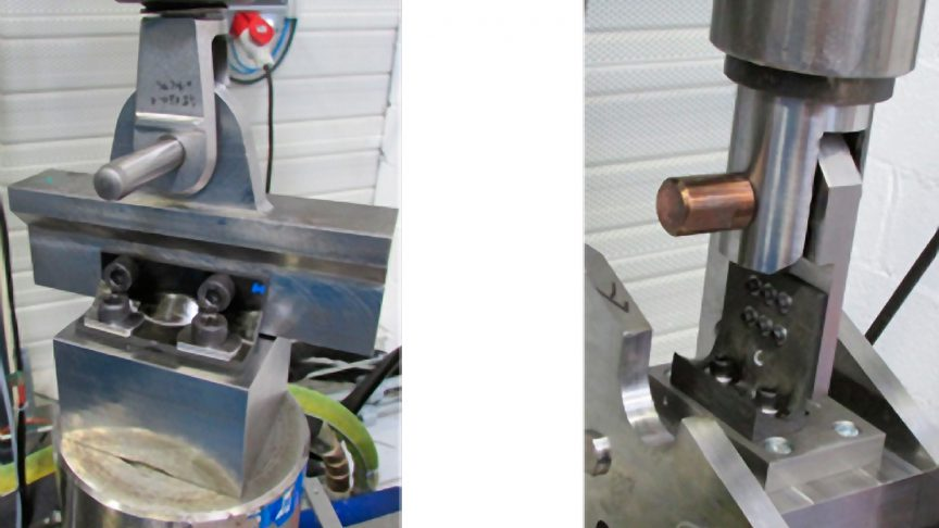 Fig. 8: Tensile/compression test benches – cleat (left) and cleat based on SKF Black Design (right).