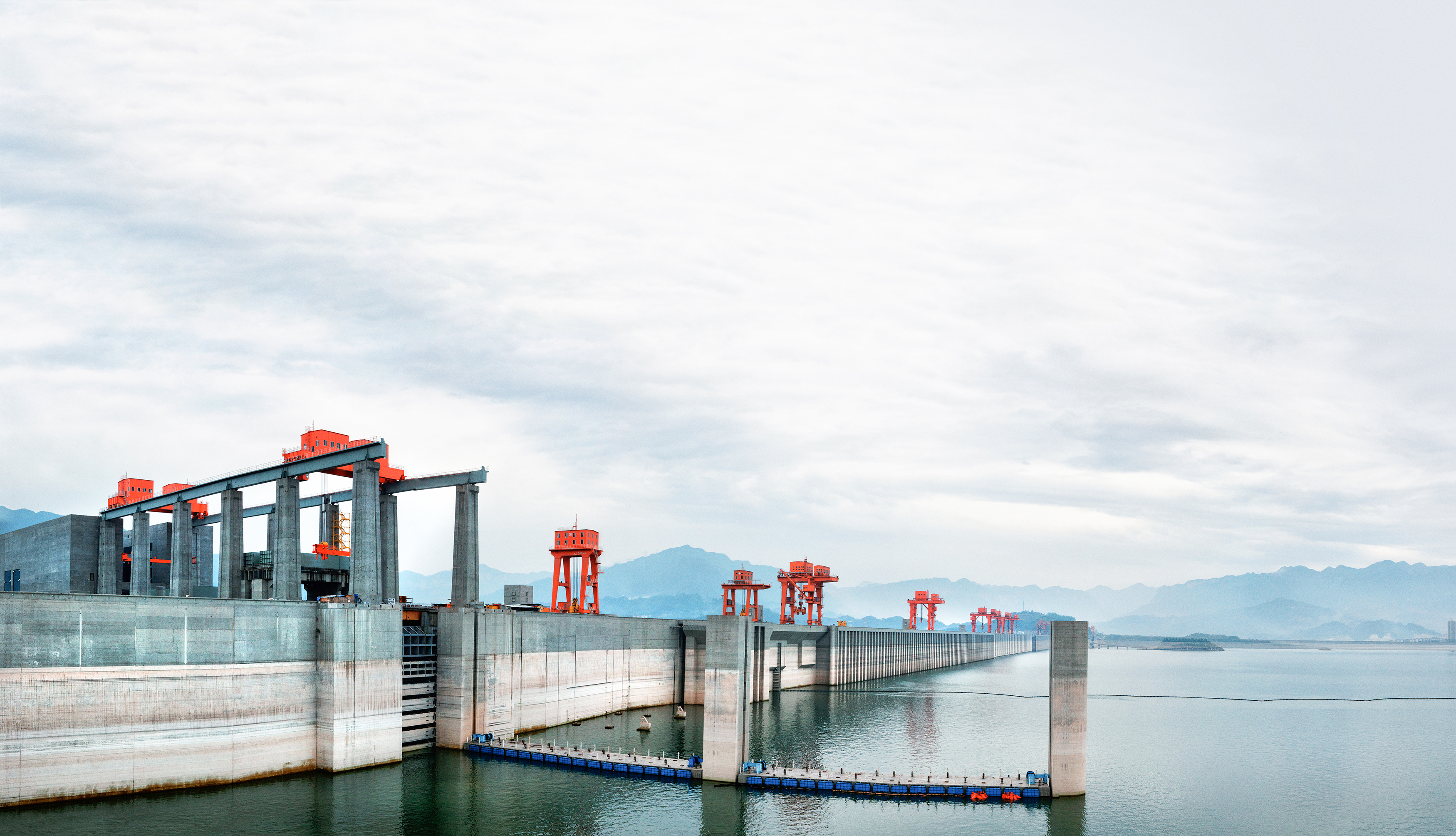 The ship lift seen from the top of the Three Gorges dam.