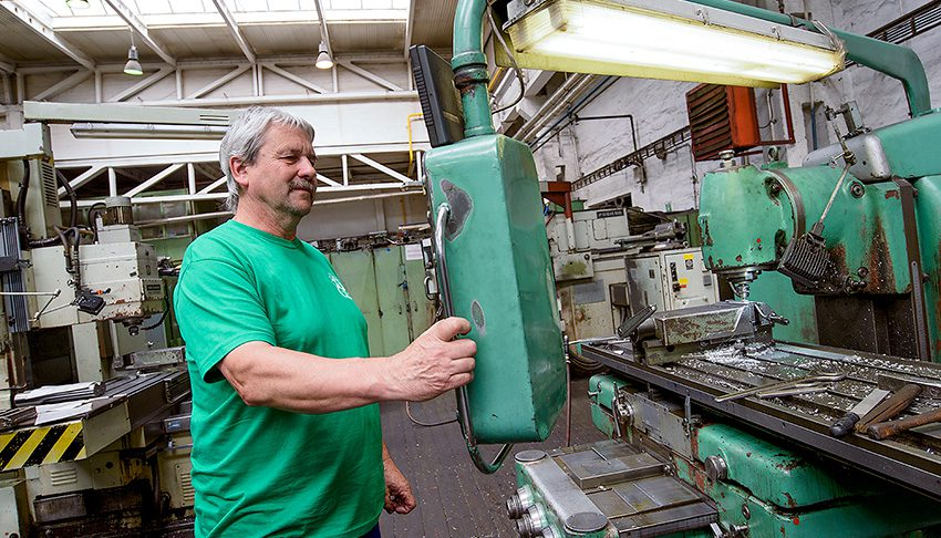 Pavel Pridal works on a milling machine at the Papcel production plant in Litovel, Czech Republic.