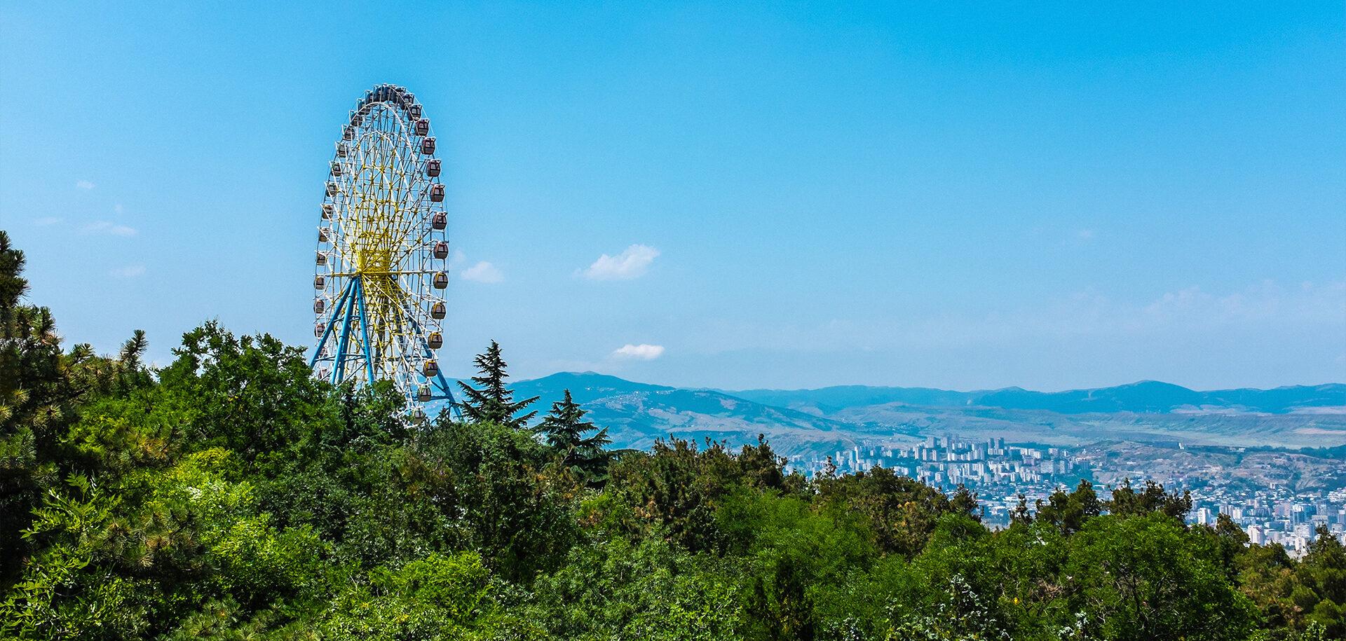 Ferris wheel in Mtatsminda Park in Tbilisi, Georgia.