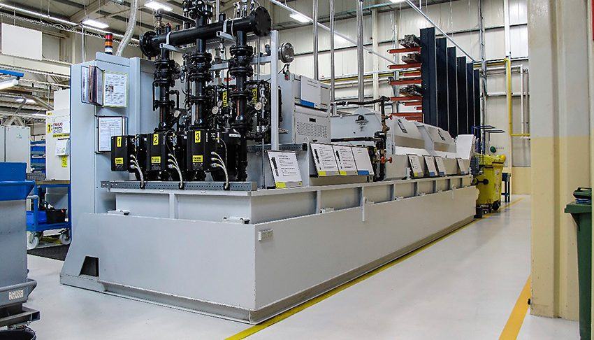 Fig. 1: Eleven Spandau pumps keep the fully automated filter system running at the SKF Lubrication Systems plant in Chodov, in the Czech Republic.