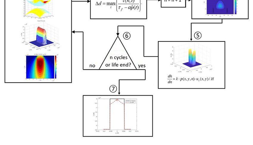Fig. 5. Modèle de fatigue de contact de roulement avec possibilité d'inclure l'usure des pistes.