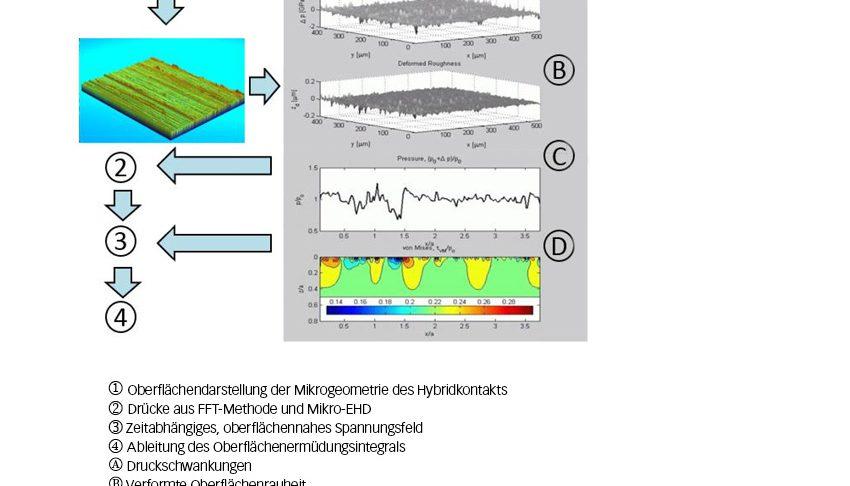 Bild 5: Schematisches Ablaufdiagramm der erweiterten Mikro-EHD-Simulation zur Bewertung von spannungsbedingten Oberflächenermüdungsschäden