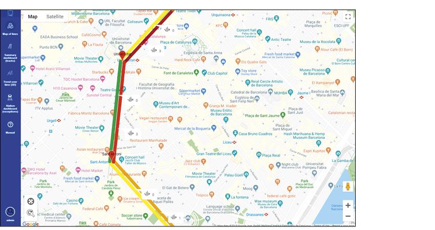 Intuitivní vizualizace celé trati metra umožňuje zjistit stav úseku mezi stanicemi.